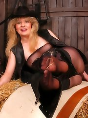 Angel as cowgirl in black xxl tights