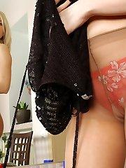Eye-catching blonde shows off her toned ass cheeks thru sheer tan pantyhose
