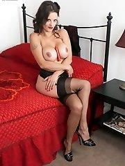 Latin look Valentina hot in vintage nylon slip and black full fashion nylons!