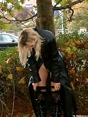 Hot blonde flashing in a public place