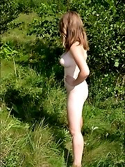 Babes display their fine bodies outdoors