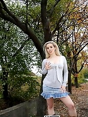Lusty teen strips her clothes in the outdoors - publicsexadventures.com