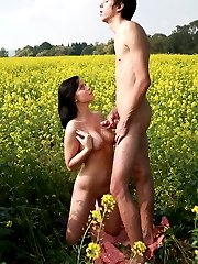 In the middle of this field of flowers, this teen has her tender pussy deflowered and so much more. His cock thrusts deep inside of her, making her moan with pleasure for all to hear.
