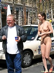 Naughty girl bare on the road