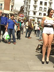 PUBLIC DISGRACE SERVICE ANNOUNCEMENT: Legendary Director Steve Holmes is back directing the best obscene European content! Public Disgrace is returning to it's roots with a new update every week! Be sure to check out this free 15 minute preview of the upcoming shoots!The last time we destroyed Mona Wales on Public Disgrace was at Folsom St Fair and she said the only way to get her back on PD was to send her to Europe! To make things even better we brought along a new huge tit spanish model Marta La Croft as a present for her to humiliate around town. Mona knows how to tie up those gorgeous giant breasts in rope bondage before cutting up Marta's skimpy dress in front of a large public crowd. She then takes this bondage slut to a packed european bar for everyone to have their way with. Marta gets made to serve, suck, and fuck in front of a wild group.