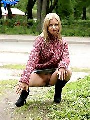 Teenage roadside whore in a hot public nudity set