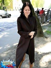 Hot brunette got nothing underneath her trenchcoat