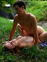 In the middle of the woods, this cute but very horny teen doesn`t hesitate to strip out of her clothes and satisfy her lover. She uses her talented mouth and of course her soaking wet cunt.