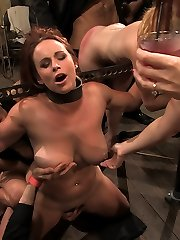 Catrina Cummings has never tried Sadism & Masochism before. She is a full novice. She gets bound down and unwrapped by a gang of 50 people who use her for their amusement. She gets frigged in the bum while bound then pulled into agonizing bondage with an ass hook fastened to her hair. She is locked in metal fetters and made to service multiple shafts while bound and helpless. She is whipped and caned. She is pummeled by multiple guys. When she doesn't perform as wanted she is abased observing Bella Rossi get all the knob and all the pleasure. In the end she pulls through and is ready for more.