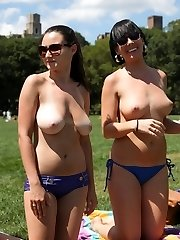 Sexy honies displaying their tits at the park