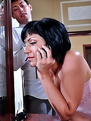 Wicked babe catches her neighbor replacing his butt plug with a rubber cock