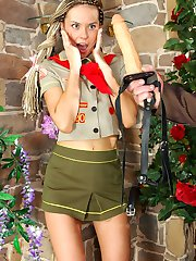 Lusty feminized guy trying something new with a strap-on armed scout girl