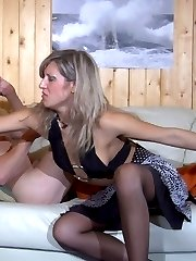 Bewildered hottie talked into strap-on fucking by her whoring itchy ass boy