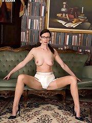 Office manager, Lara, as a nylon wearing mature masturbatory exhibitionist!