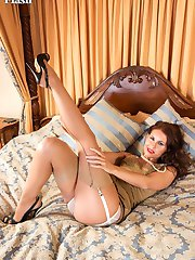 Jess parades in a glamorous old gold slinky slip and stunning fancy heel FF nylons!