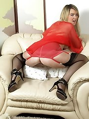 Katie Kay gets nasty in girdle and antique full style nylons!