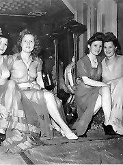 Vintage ladies perform naked