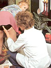 Retro girl eating his sperm
