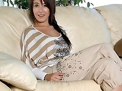 Missi Daniels fondles her bare perky breasts.