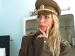 Mature blonde in uniform does deepthroat
