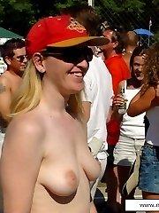 Daring public nudity at porn casting