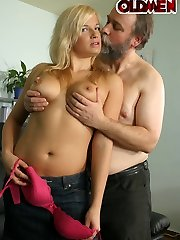Kinky teen getting fucked by a bearded old bastard