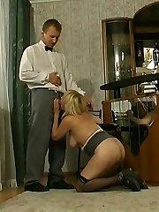 Sex-addicted mature babe seducing barman into breathtaking fucking on floor