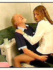 Pissing babe excited aged guy and he nailed her hard