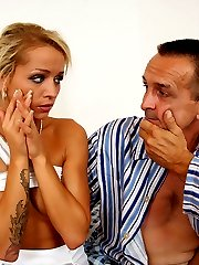 Tanned young blonde found cheating on her boyfriend with his own old sick father