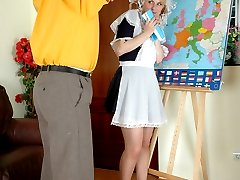 Ponytailed coed spanked and fucked by her old teacher for her poor progress