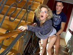 Usual meeting with a mom on the stairway ends up with hot quickie for a guy