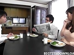 Beautiful japanese with big milk cans toying