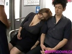 Big bra-stuffers asian fucked on train by two guys