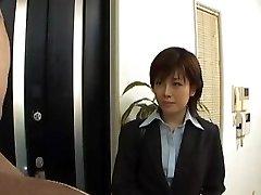 Yukino disrobes office suit while fellating