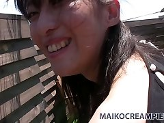 Ugly Asian dark haired Miki Sugimoto blows pecker and fucks doggy style outside