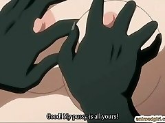 Huge-chested anime hard fucked by lizard monster