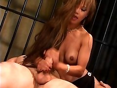 Gorgeous thin asian bi-atch in high heels rides a big dick and gets jizzed on