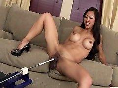 SEXY FIT ASIAN COUGAR TIA SMASHES DILDO MACHINE ROBOT