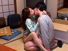 Hottest Japanese whore Akiho Yoshizawa in Horny kitchen, couple JAV gig