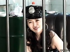 Asian Femdom Prison Guard Belt Dick