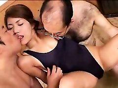 Beautiful young babe has two kinky old guys enjoying her lo