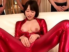 asian bodysuit cosplay babe sucking cock