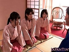 Asian geishas cocksucking in asian 4 way