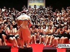 Subtitled CFNM Japanese phat handjob blowjob event