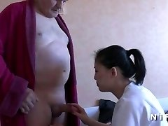 Youthful nurse blows an old fellow