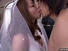 During her wedding she has to blow on a hard wiener
