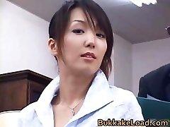 Cool real asian Shiho getting jizz part3