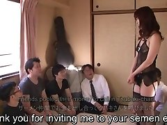 Subtitled Japanese AV star Tsubaki Katou gokkun soiree