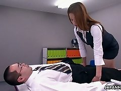 This Asian office slut is a control perv and she loves to Sixty Nine