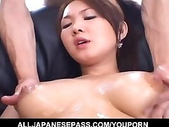 Big-titted Asian gal feels eager to fuck